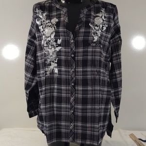 Roaman's Black & White Plaid Flannel NEW